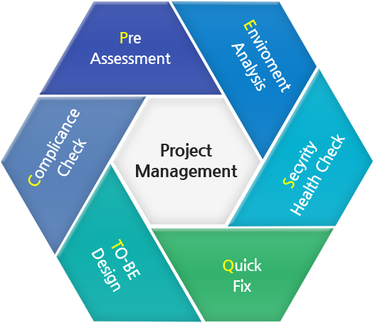 Project Management - Pre Assessment, Enviroment Analysis, Secyrity Health Check, Quick Fix, TO-BE Design, Complicance Check, Pre Assessment